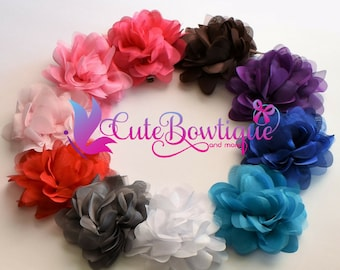 "Kids Bright 5"" Organza & Chiffon Flower Headbands Or Clips"