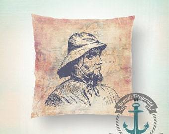 Throw Pillow | Fisherman | Vintage Map Rockport, Mass Nautical Mariner  | Size and Price via Dropdown