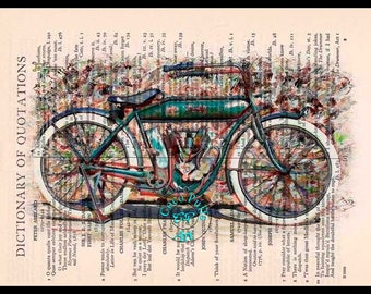 1909 Vintage Indian Motorcycle Art - Vintage Dictionary Book Page Art Upcycled Page Art Drawing