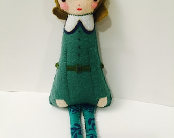 Victorian-Inspired Girl Plushie. Softie. Felt Doll.
