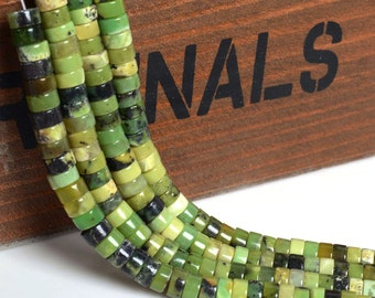 "6mm Green chrysoprase heishi loose gemstone beads 16"""