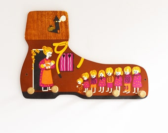 Little Old Lady who Lived in a Shoe -  Wooden Laminate Hanger - Retro Kids Room - Retro Childrens Decor - Retro Nursery