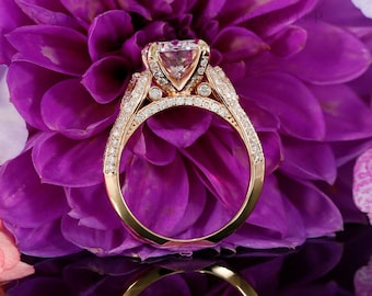 9mm Forever Brilliant Moissanite Engagement Ring in 14K Rose Gold, Pear Shape Moissanites ( white gold, yellow gold and platinum available)
