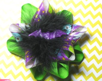 Happy Halloween Green Purple Black Monster Bat Hair Bow