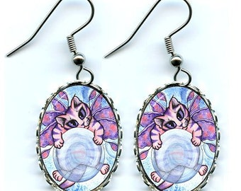 Bubble Fairy Cat Earrings Big Eye Kitten Art Cameo Earrings 25x18mm Gift for Cat Lovers Jewelry