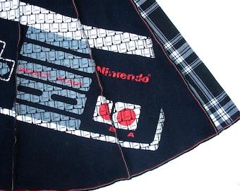 Nintendo Skirt Tee Skirt Upcycled tshirt skirt XL black white plaid women OOAK NES game controller old skool gamer geek clothing comicon