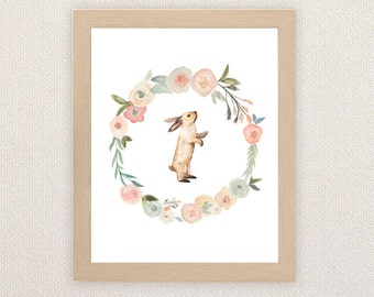 Little Bunny Foo Foo - Children's watercolor art. Floral Wreath with Rabbit. A4 Print