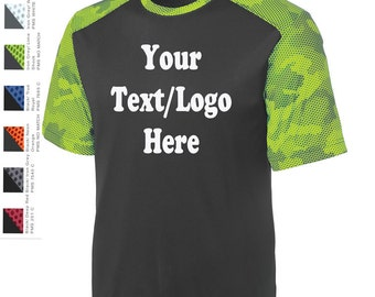 Custom Made Sport-Tek® CamoHex Colorblock Tee ST371 Vinyl or Glitter Print Customized All Colors