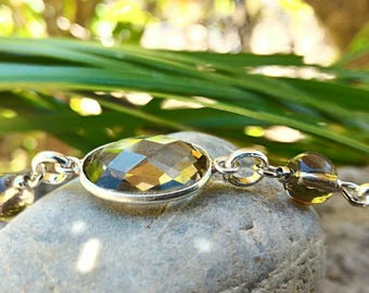 Bracelet smoky quartz and tourmaline in 925 sterling silver, very powerful stone, effective, helps to overcome difficult times