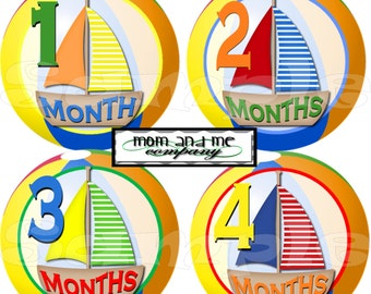 12 Monthly Baby Stickers Baby Month Stickers Baby Milestone Stickers Nautical Baby Shower Gift Precut Sailboat Baby Boy Stickers set