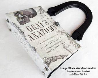 Grays Anatomy Recycled Book Purse - Medical Field Book Purse - RN Graduation Gift - Skeleton Accessory - Doctor Handbag - Nurse Book Clutch