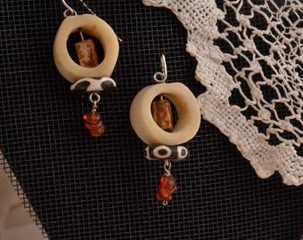 African Bone Bead Earrings