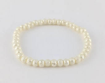 Off-White Bracelet - Beaded, Elastic, Boho, Hippie, Gypsy, Colorful