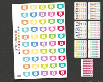 Mini Info Flags -  Planner Stickers - Star Flags - Repositionable Matte Vinyl to suit all planners