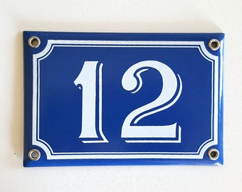 Vintage French enamel HOUSE NUMBER SIGN 12 Blue and white