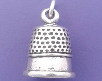 THIMBLE Charm .925 Sterling Silver, Sewing, Quilting Pendant - lp3846