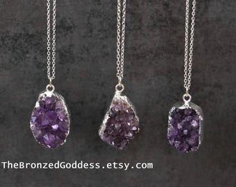 Vivid Purple Amethyst Pendant Necklace // Raw Amethyst Crystal // Calming Stone // Sterling Silver // Amethyst Crystal Necklace