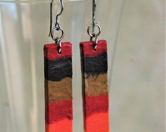 Fire Hanji Paper Earrings OOAK Patchwork Red Black Brown Yellow Orange Boho Earrings Hypoallergenic hooks Dangle Earrings Lightweight
