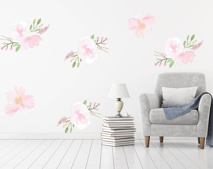 Blush Pink Floral Wall Decal  Removable and Reusable / Fabric Floral Wallpaper  / Nursery Wall Decal /  Peel and Stick Temporary Wallpaper