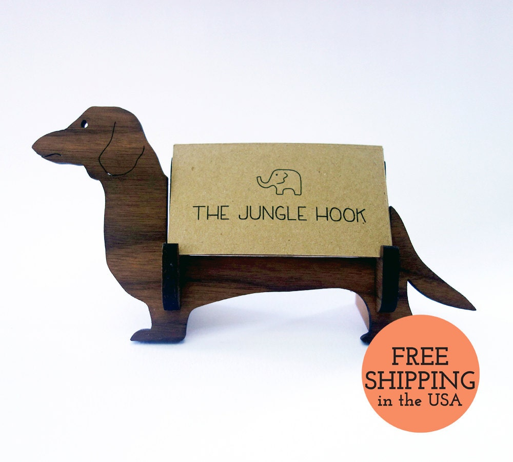 Dachshund business card holder for desk wiener dog handmade