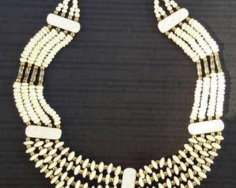 Vintage Necklace, 1980s Egyptian style choker, Cream and Gold colours