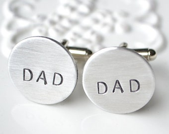 Dad handstamped cufflinks - keepsake gift for father on fathers day, wedding day, father of the bride