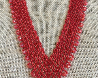 Red V shapaed Crystal Beaded Necklace