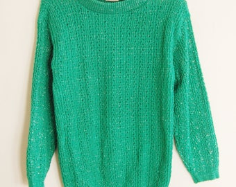 Vintage Wintry Sweater // 80s Green and Silver Tinsel Pullover Sweater