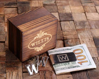 """Initial """" W """" Personalized Men's Classic Cuff Link & Money Clip with Wood Box Monogrammed Engraved Groomsmen, Best Man, Father's Day Gift"""