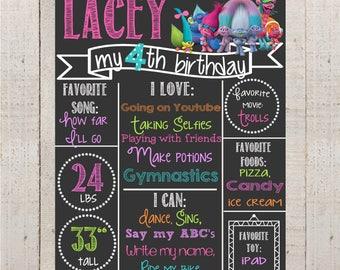 Birthday Chalkboard-- Custom First Birthday Sign-- Trolls-- Chalkboard Stats-- Custom Digital File--Troll Birthday- First Birthday