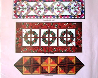 Easy Big Blocks by McCalls B518 Quilting Pattern Table Runner Collection Tissue Paper Foundations for Piecing by Machine or Hand