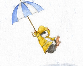 Puddle Jumping - Guinea Pig in a Raincoat with Umbrella Print