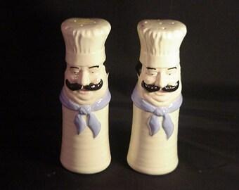 Vintage Porcelain Chef Man Salt & Pepper Set