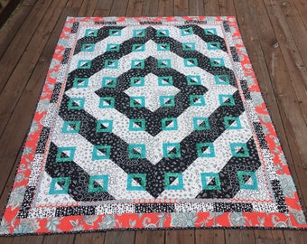 Diamonds and Squares Throw Quilt