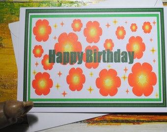 Happy Birthday Card, Blank Inside, Orange Flower Design, Flower Power, Retro, Bright and Cheerful
