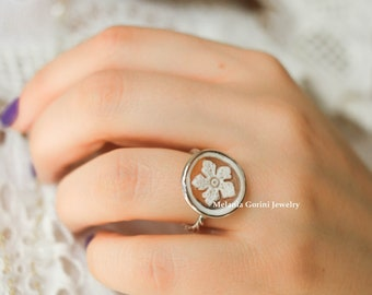 STARFISH Ring-Sterling silver adjustable ring with authentic shell cameo with Starfish-925 silver findings-stackable ring-stacking jewelry