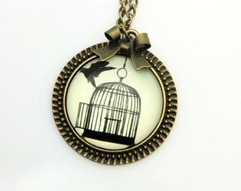 Bird and cage Necklace, freedom necklace