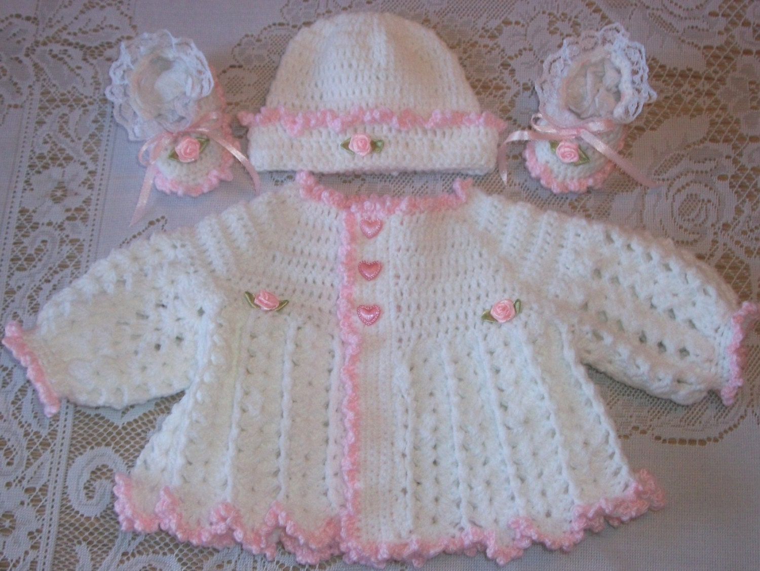 Crochet Baby Girl Pink and White Sweater Set Layette For Take