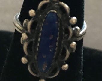 Vintage Sterling Lapiz Adjustable Ring