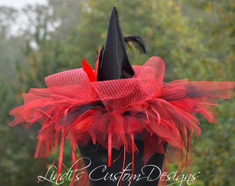 Red Black Adult Witch Hat/ Custom Halloween Witch Hat/ Feather, Tulle, Mesh Halloween Witch Hat/ Red Black Halloween Witch/ Over the Top