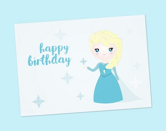 "Elsa Frozen printable card, greeting card handmade, birthday girl cards, cute card, frozen card, Birthday Greetings Card - Size A6 - 6""x4"""