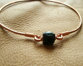 Simple Black Beaded Hammered Eco Friendly Copper Bangle Bracelet