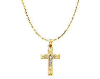 14K Solid Gold Cross Two Tone Crucifix Cross Pendant