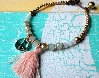 Pearl bracelet with shimmering Crystal beaded tassel & peace * hippie boho Festival Ibiza style *.