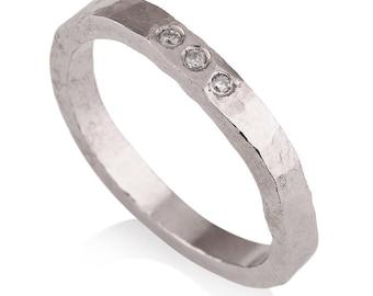 14K White Gold engagement ring, hammered ring, 3 diamond engagement ring, minimalist engagement ring, raw gold engagement ring