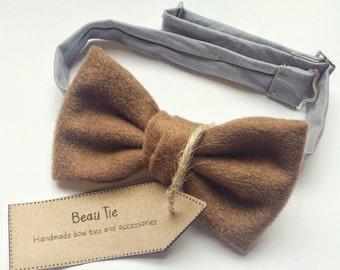 wool bow tie, mens bow tie, brown bow tie, mens wool bow tie, brown wool