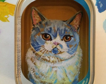 Custom Cat Portrait in Fish Tin