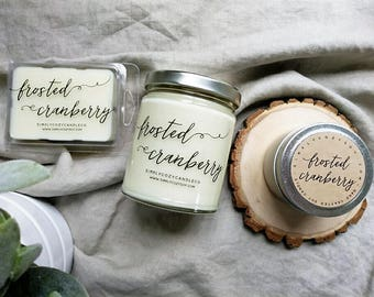frosted cranberry - hand poured soy candle