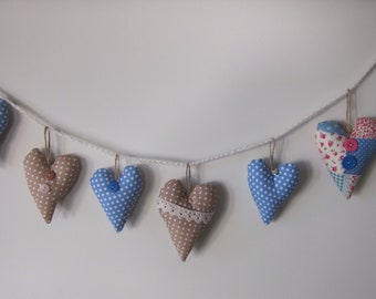 Handmade Heart Bunting / Heart Garland / hearts banner