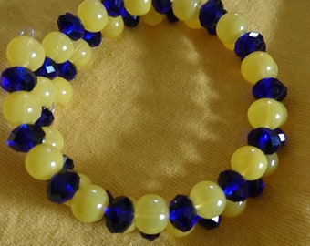 Gift Original Cuff Bracelet beads yellow and blue